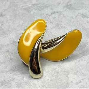 Vintage Yellow Enamel Clip On Earrings